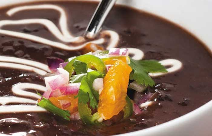 black bean soup with orange jalapeño salsa- a simple soup recipe from Herbivoracious by @Michaelnatkin via @blenderbabes