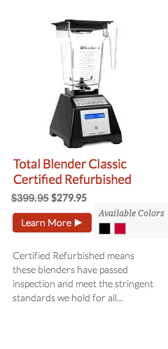 Blendtec Total Blender Classic Certified Refurbished from @BlenderBabes