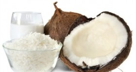 Fresh coconut, shredded coconut, and coconut cream, isolated on white.