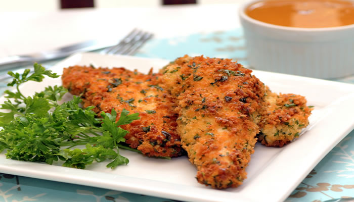 Parmesan Chicken Goujons with Roasted Tomato and Garlic Dipping Sauce Recipe
