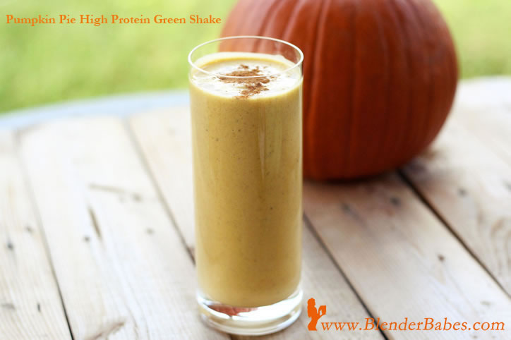 Vega pumpkin pie high protein green smoothie shake in a blendtec or ...