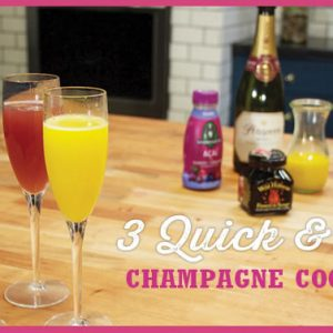 3 Quick and Easy Champagne Cocktails for Brunch, Mother's Day, Bridal Showers and More by @BlenderBabes