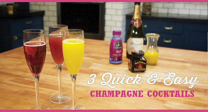 3 Quick & Easy Champagne Cocktails for Mother's Day, Bridal Showers & More