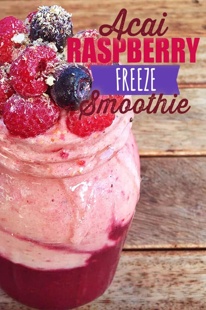 Acai Raspberry Smoothie 2 layers #acai #smoothie #layeredsmoothie #healthysmoothie #blenderbabes