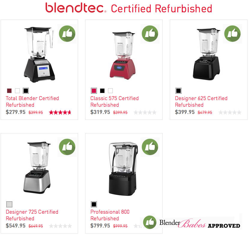 Refurbished Blendtec Models Approved by Blender Babes