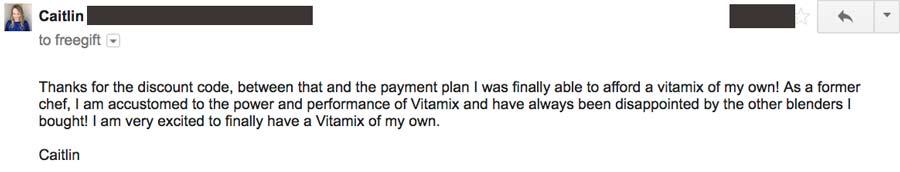 Vitamix Testimonial Caitlin