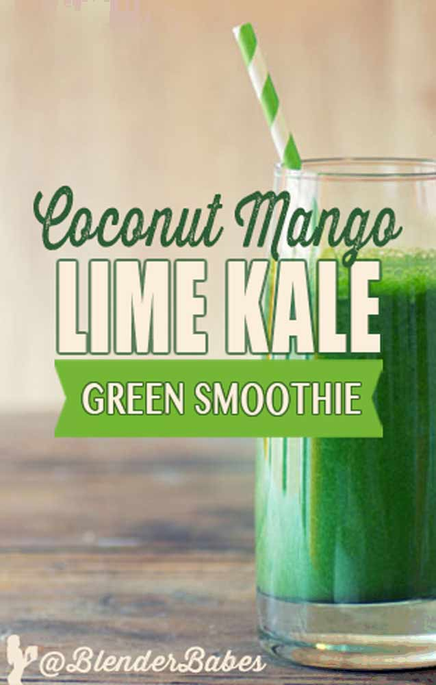 Coconut Mango Kale Green Smoothie by @BlenderBabes  #kalesmoothies #greensmoothies #smoothies #kalerecipes #blenderbabes