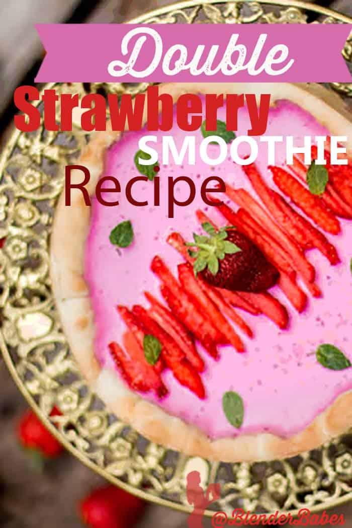 Double Strawberry Smoothie Pie Recipe #strawberry #pie #strawberrypie #smoothie #blenderbabes