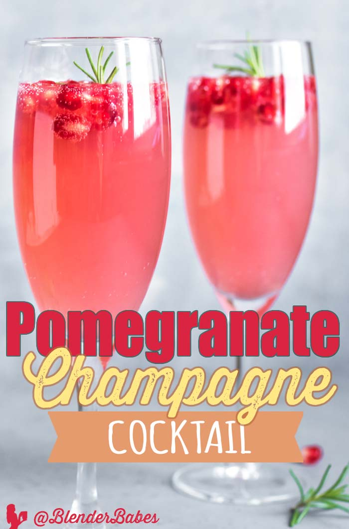Pomegranate Champagne Cocktail by @BlenderBabes #champagnecocktails #pomegranaterecipes #pomegranate #holidaycocktails #blenderbabes