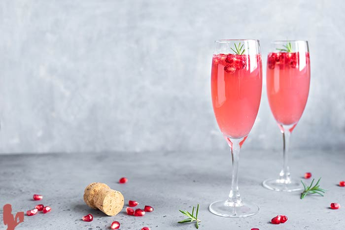 Pomegranate Champagne Cocktail (or Blackberry!)