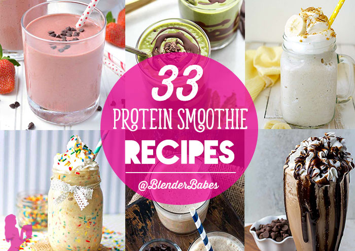 Protein Smoothies Recipes for Breakfast, Weight Loss, Post-Workout and Dessert via @BlenderBabes