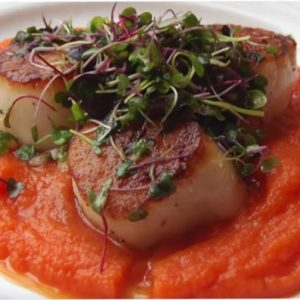 Seared Scallops with Carrot Puree by Valerie Cogswell via @BlenderBabes