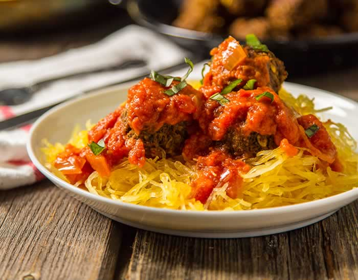Vegan Spaghetti and Meatballs Recipe with Mushrooms and Squash