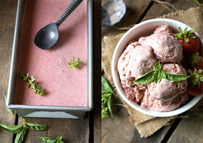 Blendtec and Vitamix Ice Cream Recipes | Strawberry Basil Ice Cream