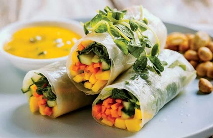 Summer Rolls with mango lime and mint dipping sauce by @BrendanBrazier via @BlenderBabes
