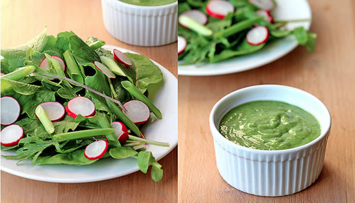 Light Basil Green Goddess Dressing by @BlenderBabes
