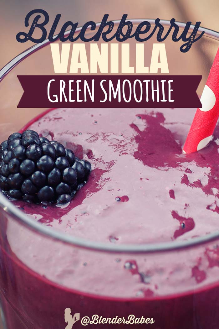 Blackberry Green Smoothie Recipe via @BlenderBabes #proteinshakes #proteinsmoothies #greensmoothie #blackberryrecipes #blenderbabes
