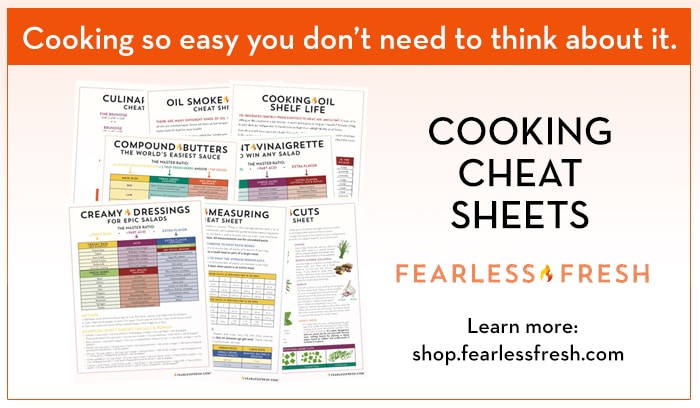 Fearless Fresh Cooking Cheat Sheets on https://shop.fearlessfresh.com