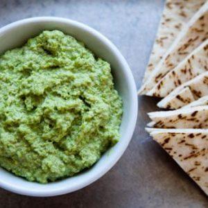 Edamame Basil Hummus Recipe by @BlenderBabes