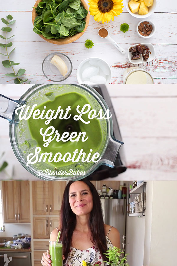 Weight Loss Green Smoothie by @BlenderBabes #greensmoothie #weightloss #weightlossrecipes #healthysmoothie